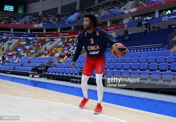 Victor Rudd #3 of CSKA Moscow before the 2017/2018 Turkish Airlines EuroLeague Regular Season Round 23 game between CSKA Moscow and Baskonia Vitoria...