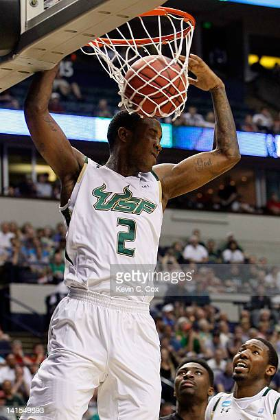 Victor Rudd Jr #2 of the South Florida Bulls dunks the ball against the Ohio Bobcats during the third round of the 2012 NCAA Men's Basketball...