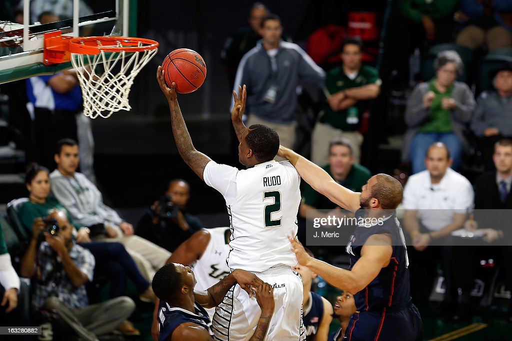 Victor Rudd #2 of the South Florida Bulls drives to the basket against the Connecticut Huskies during the game at the Sun Dome on March 6, 2013 in Tampa, Florida.