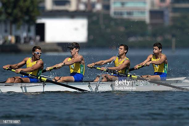 Victor Ruzicki Altenir Jr Alef Fontoura and David Souza of Brazil in action during the Men's Four Skiff final race during the South American Rowing...