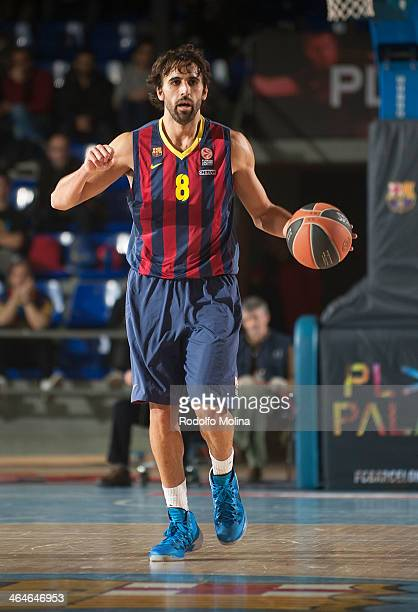 Victor Sada #8 of FC Barcelona in action during the 20132014 Turkish Airlines Euroleague Top 16 Date 4 game between FC Barcelona Regal v Unicaja...