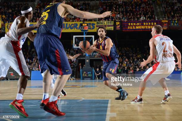 Victor Sada #8 of FC Barcelona in action during the 20132014 Turkish Airlines Euroleague Top 16 Date 10 game between FC Barcelona Regal v Olympiacos...