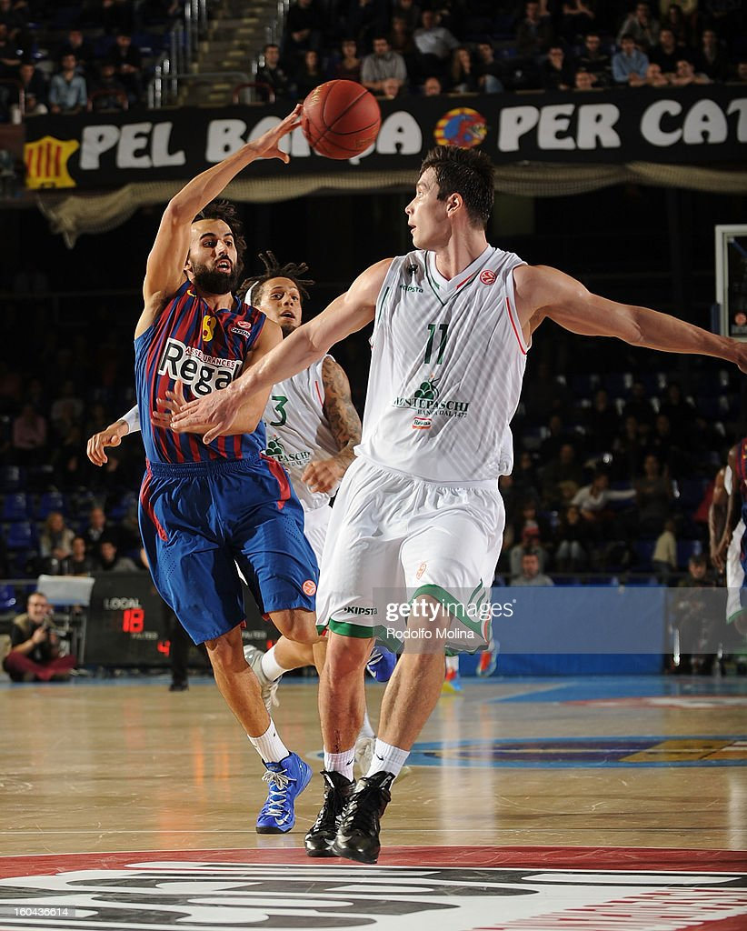 Victor Sada, #8 of FC Barcelona Regal in action during the 2012-2013 Turkish Airlines Euroleague Top 16 Date 6 between FC Barcelona Regal v Montepaschi Siena at Palau Blaugrana on January 31, 2013 in Barcelona, Spain.