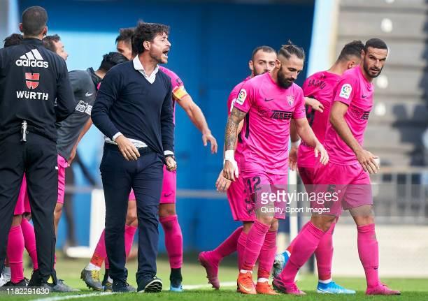 Victor Sanchez Del Amo the manager of Malaga CF reacts after Armando Sadiku scored his team's second goal during the La Liga Smartbank match between...