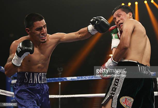 Victor Sanchez lands a left on Francisco Vargas of Mexico during their Junior Lightweight bout at the MGM Grand Garden Arena on September 15 2012 in...