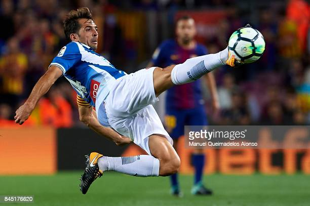Victor Sanchez of Espanyol in action during the La Liga match between Barcelona and Espanyol at Camp Nou on September 9 2017 in Barcelona Spain