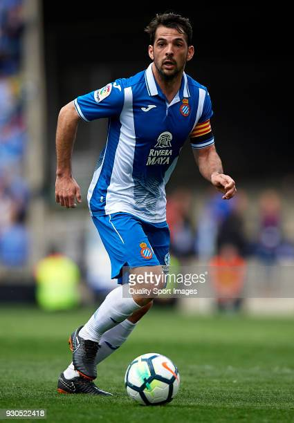 Victor Sanchez of Espanyol runs with the ball during the La Liga match between Espanyol and Real Sociedad at Estadio de CornellaEl Prat on March 11...