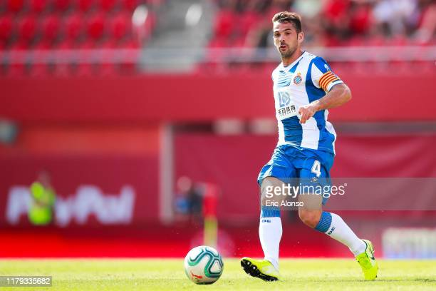 Victor Sanchez of RCD Espanyol passes the ball during the Liga match between RCD Mallorca and RCD Espanyol at Iberostar Estadi on October 06 2019 in...