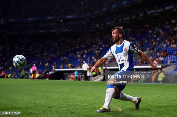 Victor Sanchez of RCD Espanyol plays the ball during the UEFA Europa League Play Off match between Espanyol and Zoryan Luhansk at RCDE Stadium on...