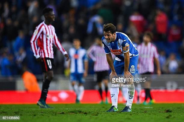 Victor Sanchez of RCD Espanyol reacts at the end of the La Liga match between RCD Espanyol and Athletic Bilbao at CornellaEl Prat Stadium on November...
