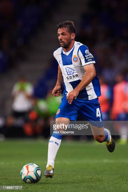 Victor Sanchez of RCD Espanyol runs with the ball during the UEFA Europa League Play Off match between Espanyol and Zoryan Luhansk at RCDE Stadium on...