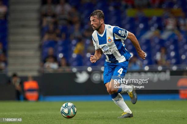Victor Sanchez of RCD Espanyol with the ball during the UEFA Europa League Play Off match between Espanyol and Zoryan Luhansk at on August 22 2019 in...