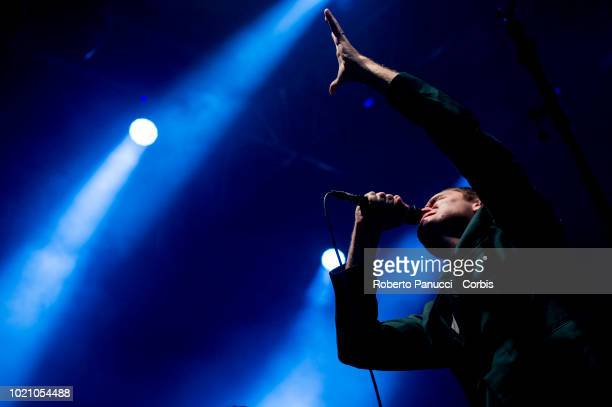 Victor Solf and his group Her perform on stage during Ypsigrock Festival on August 10 2018 in Castelbuono Palermo Italy