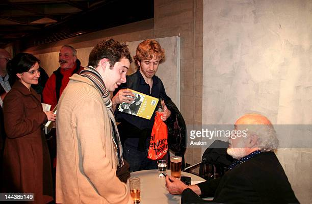 Victor Spinetti the actor signing his autobiography Up Front at the National Theatre after his talk in the NT Lyttelton Theatre where he had his...