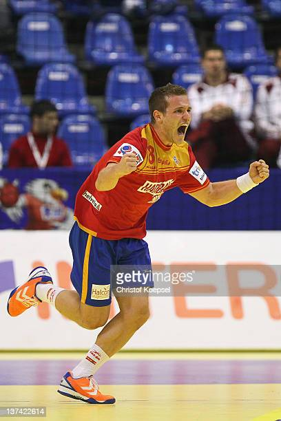 Victor Tomas of Spain celebrates a goal during the Men's European Handball Championship group C match between Spain and Russia at Spens Arena on...