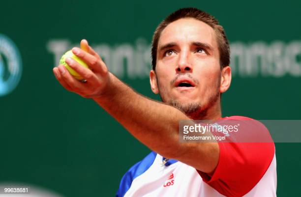Victor Troicki of Serbia in action during his match against Juan Monaco of Argentina during the second day of the ARAG World Team Cup at the...