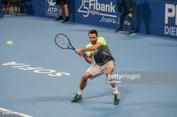 Victor Troicki of Serbia plays a shot against Stan Wawrinka of Switzerland in 1/4 final match during DIEMAXTRA Sofia Open 2018 on February 09 at...