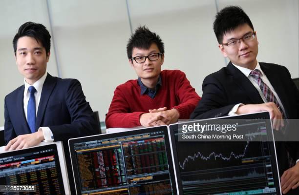 Victor Tsang Keiyin Jimmy Hui Yukming and Rex Lai Tatshing rom the Heng Seng Management College they take part in the Deutsche Bank HSMC ETF training...