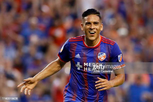 Victor Ulloa of FC Cincinnati celebrates after scoring a goal in the game against Houston Dynamo at Nippert Stadium on July 06 2019 in Cincinnati Ohio