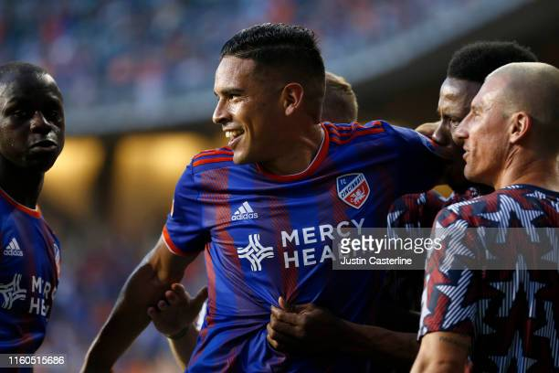 Victor Ulloa of FC Cincinnati celebrates with his team after scoring a goal against Houston Dynamo at Nippert Stadium on July 06 2019 in Cincinnati...
