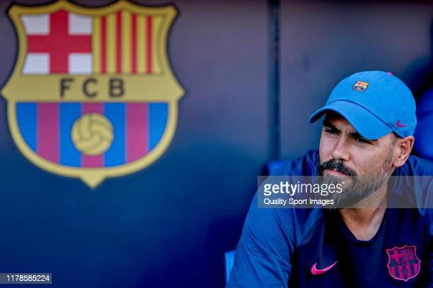 Victor Valdes Arribas, head coach of FC Barcelona looks on prior to the UEFA Youth League group F match between FC Barcelona and Inter at Estadi...