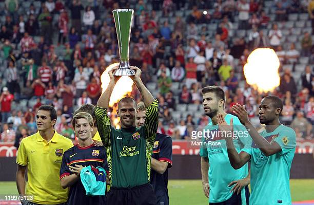 Victor Valdes goalkeeper of Barcelona celebrates after winning the Audi Cup final match between FC Bayern Muenchen and FC Barcelona at Allianz Arena...