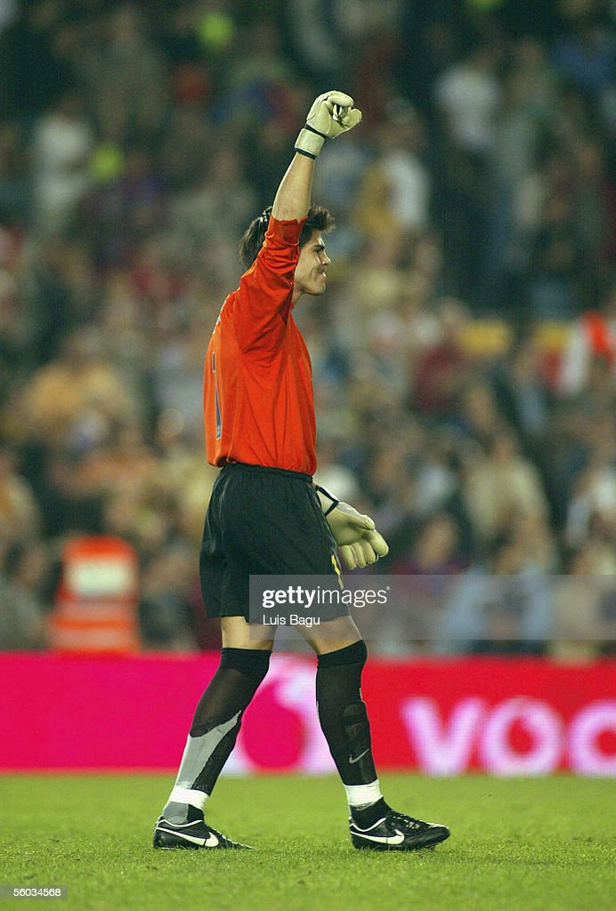 Victor Valdes of FC Barcelona celebrates a goal during the La Liga match between FC Barcelona and Real Sociedad, on October 30, 2005 at the Camp Nou stadium in Barcelona, Spain.