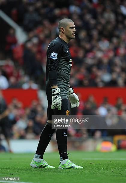 Victor Valdes of Manchester United during the match between Manchester United and Arsenal in the Barclays Premier League at Old Trafford on May 17...