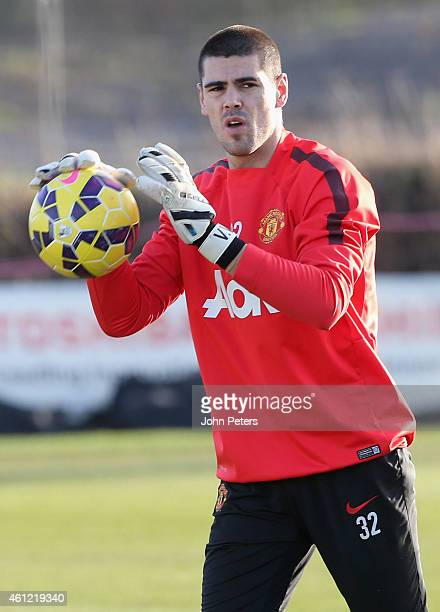 Victor Valdes of Manchester United in action during a first team training session at Aon Training Complex on January 9 2015 in Manchester England