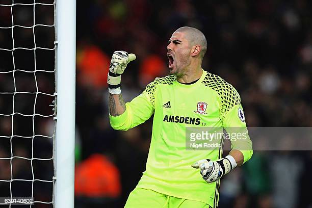 Victor Valdes of Middlesbrough celebrates his sides third goal during the Premier League match between Middlesbrough and Swansea City at Riverside...