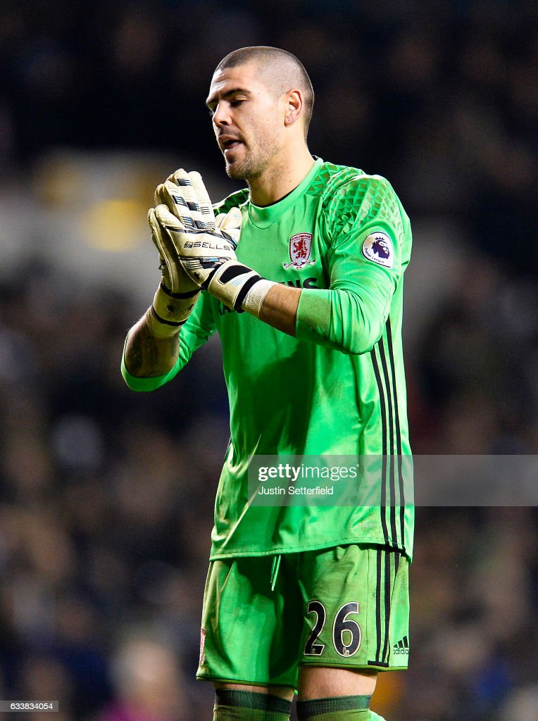 Victor Valdes of Middlesbrough FC reacts during the Premier