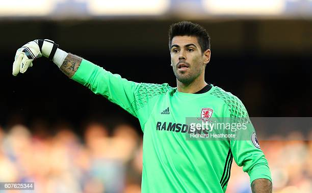 Victor Valdes of Middlesbrough in action during the Premier League match between Everton and Middlesbrough at Goodison Park on September 17 2016 in...