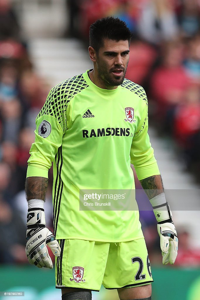 Victor Valdes of Middlesbrough looks on during the Barclays Premier League match between Middlesbrough and AFC Bournemouth at the Riverside Stadium on October 29, 2016 in Middlesbrough, England.