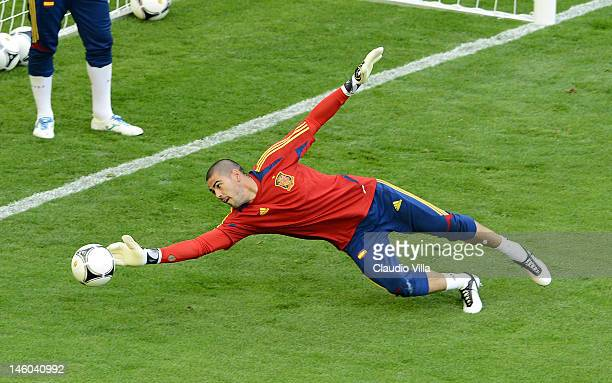 Victor Valdes of Spain during a training session ahead of the UEFA EURO 2012 Group C match against Italy at the Municipal Stadium on June 9 2012 in...