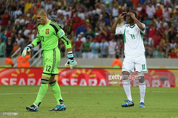 Victor Valdes of Spain looks on as Mohammed Gambo of Nigeria reacts after a missed chance during the FIFA Confederations Cup Brazil 2013 Group B...