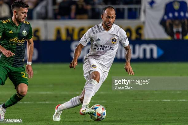 Victor Vazquez of Los Angeles Galaxy controls the ball during the game against Portland Timbers at the Dignity Health Sports Park on October 16, 2021...