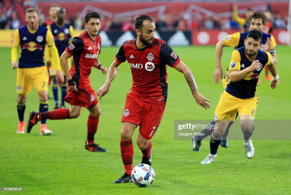 Victor Vazquez #7 of Toronto FC dribbles the ball during the first half of the MLS Eastern Conference Semifinal, Leg 2 game against New York Red Bulls at BMO Field on November 5, 2017 in Toronto, Ontario, Canada.