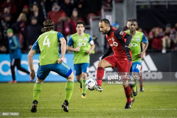 Victor Vazquez of Toronto FC kicks the ball to keep control during the 2017 Audi MLS Championship Cup match between Toronto FC and Seattle Sounders...
