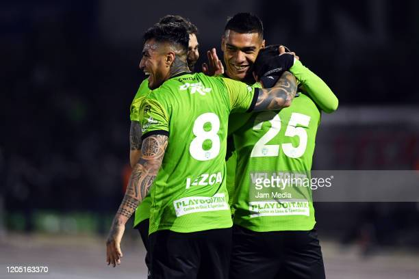 Victor Velazquez of Juarez celebrates after scoring the first goal of his team during the 5th round match between FC Juarez and Necaxa as part of the...