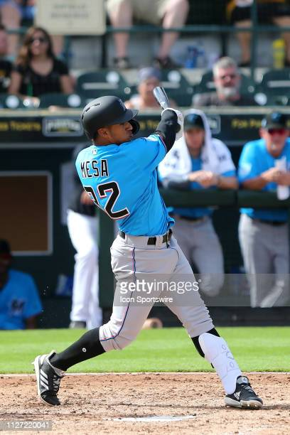 Victor Victor Mesa of the Marlins at bat during the spring training game between the Miami Marlins and the Pittsburgh Pirates on February 24 at the...