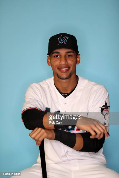 Victor Victor Mesa of the Miami Marlins poses for a photo during photo days at Roger Dean Stadium on February 20 2019 in Jupiter Florida