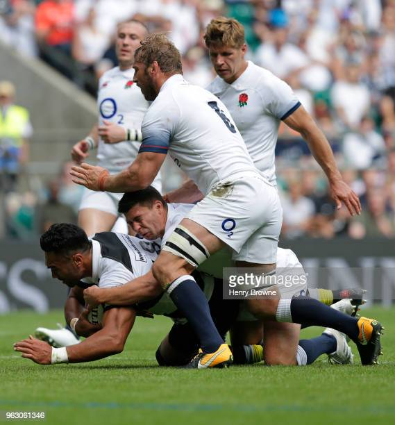 Victor Vito of Barbarians scores a try during the Quilter Cup match between England and Barbarians at Twickenham Stadium on May 27 2018 in London...