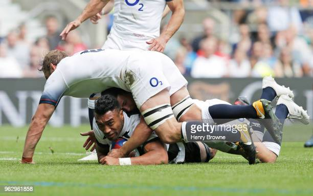 Victor Vito of Barbarians scores their third try during the Quilter Cup match between England and Barbarians at Twickenham Stadium on May 27 2018 in...