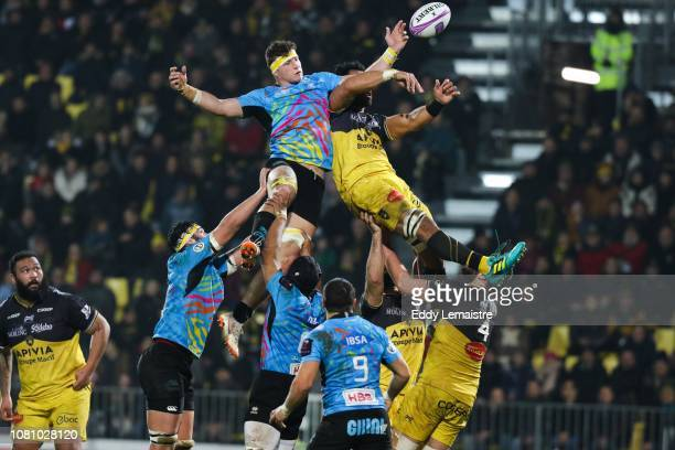 Victor Vito of La Rochelle and Samuele Ortis of Parme during the European Challenge Cup match between La Rochelle and Zebre at Stade Marcel Deflandre...