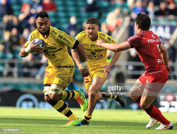 Victor Vito of La Rochelle charges upfield during the Heineken Champions Cup Final match between La Rochelle and Toulouse at Twickenham Stadium on...