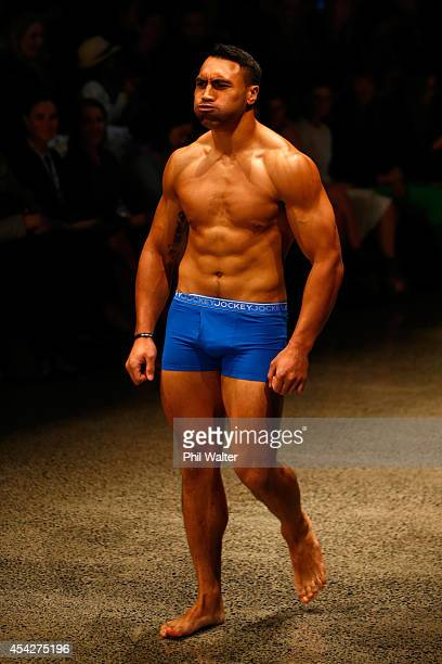 Victor Vito of the All Blacks models Jockey underwear during the Resene Designer Selection Show at New Zealand Fashion Week 2014 on August 28 2014 in...