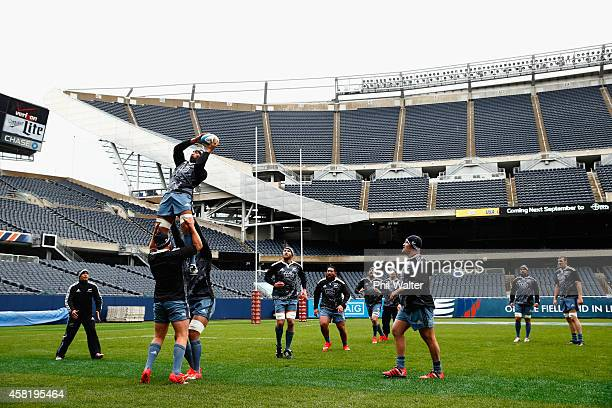 Victor Vito of the All Blacks takes the ball in the lineout during the New Zealand All Blacks Captain's run at Soldier Field on October 31, 2014 in...