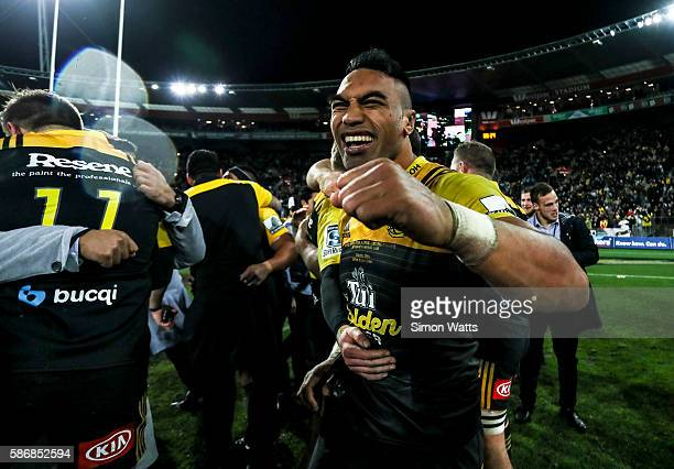 Victor Vito of the Hurricanes celebrates after the Hurricanes won the 2016 Super Rugby Final match between the Hurricanes and the Lions at Westpac...
