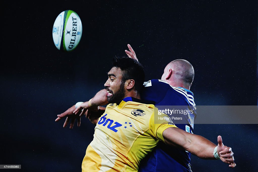 Victor Vito of the Hurricanes contests the lineout ball with Hayden Triggs of the Blues during the round 15 Super Rugby match between the Blues and the Hurricanes at Eden Park on May 23, 2015 in Auckland, New Zealand.