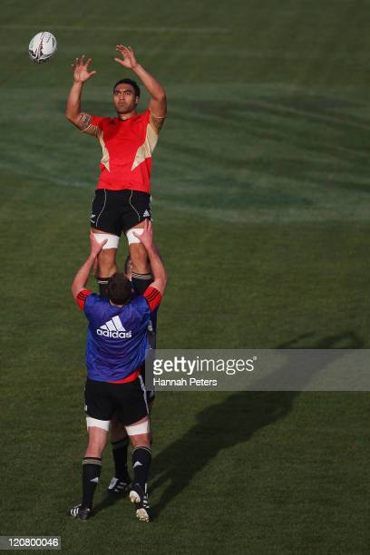 Victor Vito runs through lineout drills during a New Zealand All Blacks training session at North Harbour Stadium on August 11 2011 in Auckland New...
